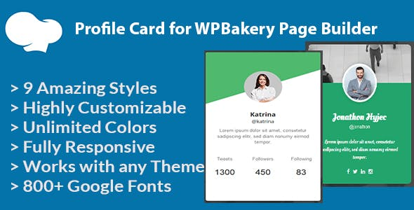Profile Card for WPBakery Page Builder (formerly Visual Composer)