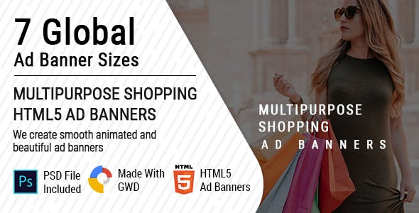 Multipurpose Shopping HTML5  Animated Ad Banner