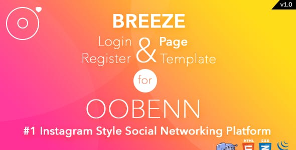 Breeze PHP Login & Register Page Template for oobenn