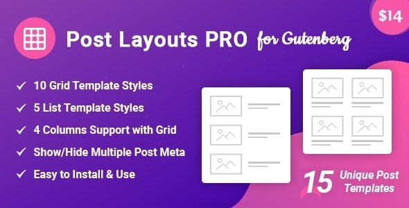 Post Layouts Pro for Gutenberg - CodeCanyon Item for Sale