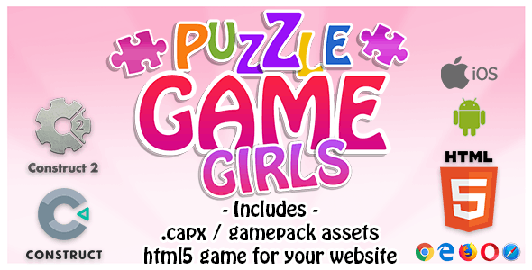 Puzzle Game Girls - Construct 2 Source Code and HTML5 Files for your Site