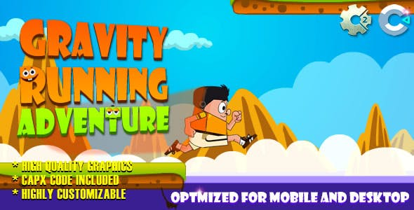 Gravity Running - Adventure (C2,C3,HTML5) Game.