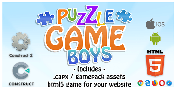 Puzzle Game Boys - Construct 2 Source Code and HTML5 Files for your Site