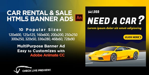 Car Rental & Sales HTML5 Banners Ads