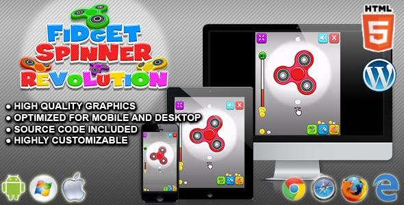 Fidget Spinner Revolution - HTML5 Skill Game