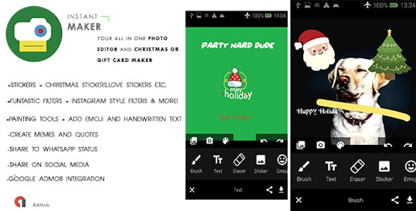 InstantMake - Gift Card Maker | All in one photo Editor|Meme Maker |Christmas,New Year Quote | Admob