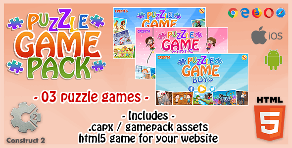 Puzzle Game Bundle - 03 HTML5 Puzzle Games (Construct 2 .capx File and Assets)