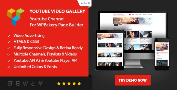 Youtube Video Gallery - Youtube Channel For WPBakery Page Builder (Visual Composer) - CodeCanyon Item for Sale