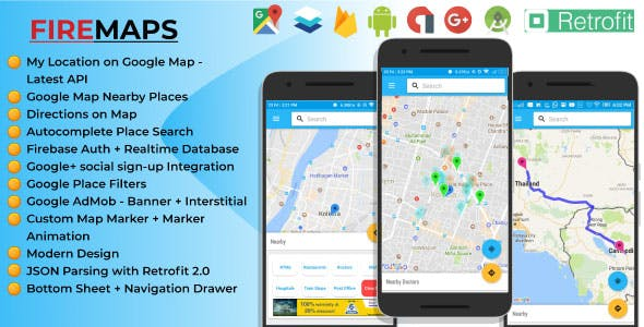 FireMaps - the ultimate Android App for Google Maps utility features with Firebase integration