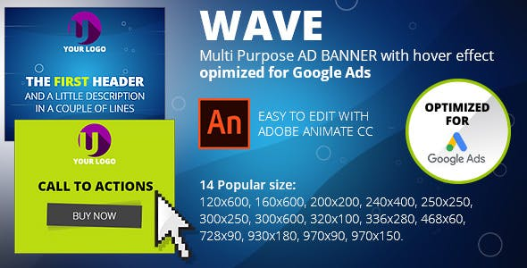 WAVE (Adobe Animate CC) Multi Purpose AD BANNER with hover effect. Opimized for Google Ads