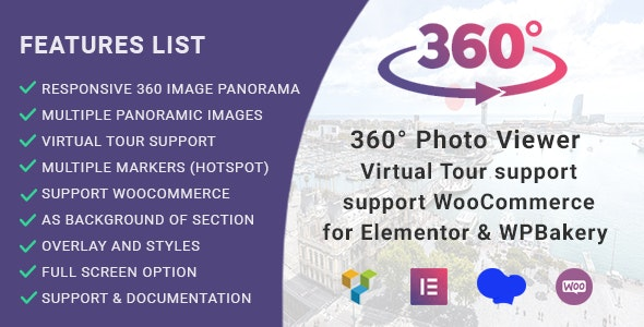360° Photo Viewer (Virtual Tour) for Elementor and WPBakery