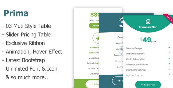 Prima - Advanced CSS Pricing Tables - CodeCanyon Item for Sale