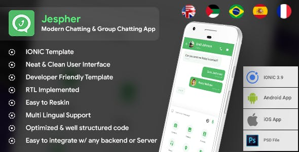 Chatting & Group Chatting Android + iOS App Template | HMTL +  Css IONIC 3 |  Jespher - CodeCanyon Item for Sale
