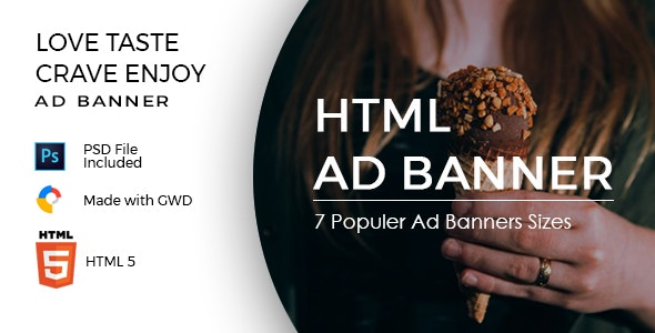 Love Taste Crave Enjoy Ad Banners - CodeCanyon Item for Sale