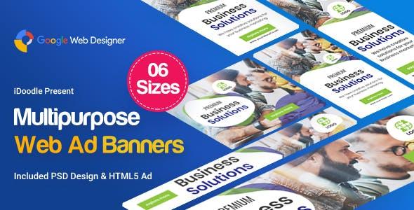Multi Purpose Banners HTML5 D26 - GWD & PSD