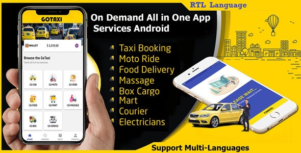 GoTaxi App - On Demand All in One App Services Android by androgo