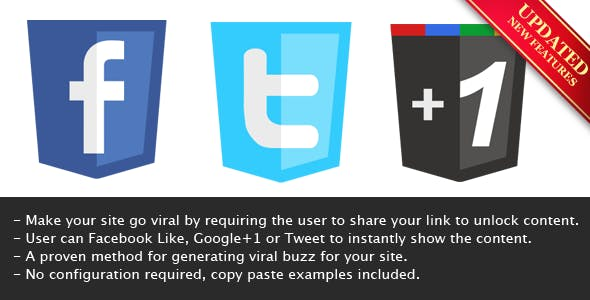 Viral Lock PHP - Like, Google+1 or Tweet to Unlock