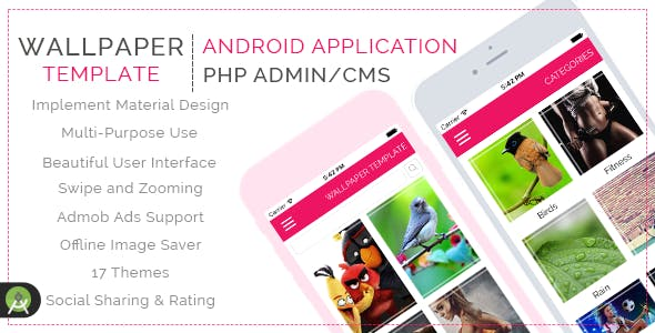 HD Purpose Wallpaper Template for Android with PHP CMS Admin Panel