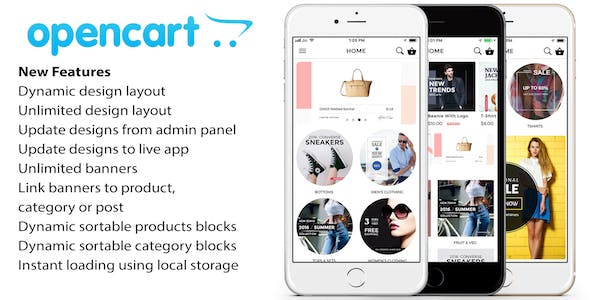 Opencart mobile app ionic 3 source code with opencart module for iOS and android