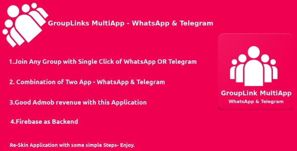 GroupLink MultiApp - WhatsApp & Telegram - Android native App
