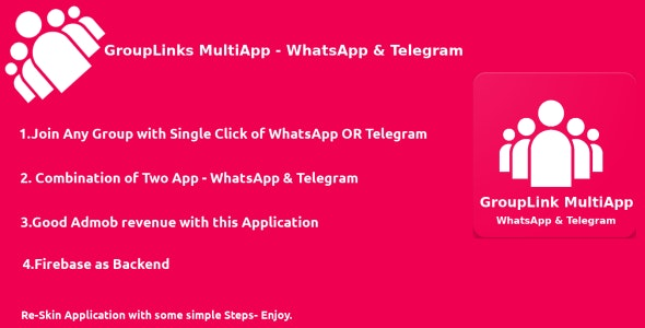 GroupLink MultiApp - WhatsApp & Telegram - Android native