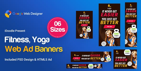 Yoga & Fitness Banners Ad D35 - Google Web Design