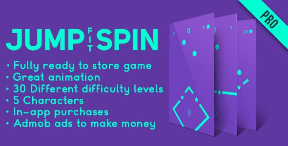 Jump Spin Fit - Fun Arcade Game Android Template + easy to reskine + AdMob - CodeCanyon Item for Sale