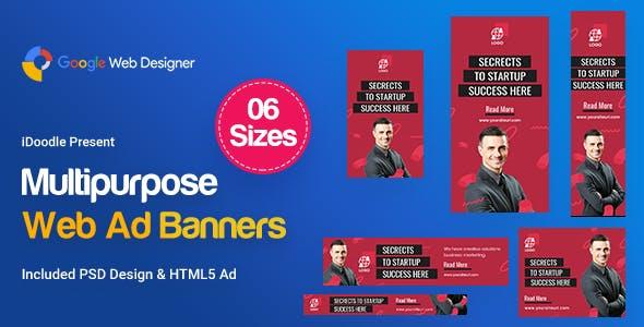 Multi Purpose Banners HTML5 D28 - GWD & PSD