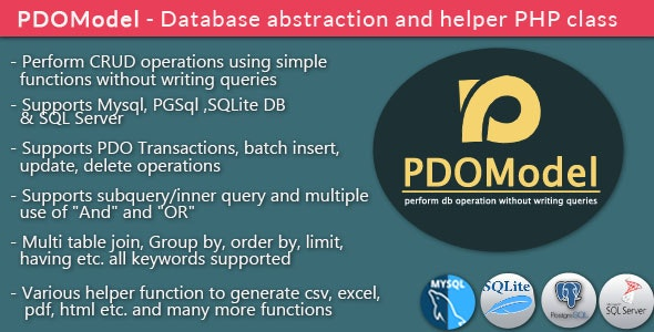 PDOModel - Database abstraction and helper PHP class - CodeCanyon Item for Sale