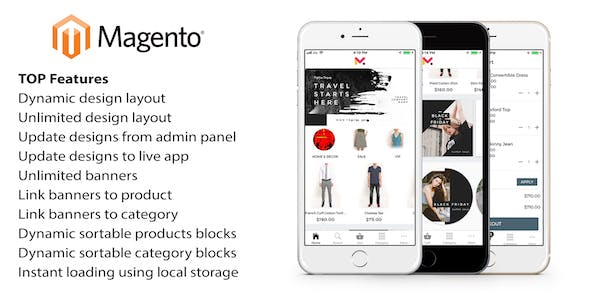 Mobile app for Magento - ionic 3 source code for iOS and Android with Magento extension