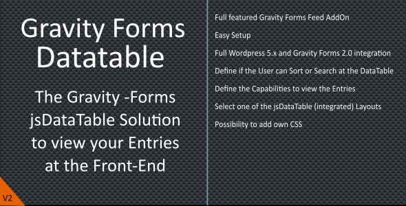 Gravity Forms jQuery Datatable by naranili | CodeCanyon