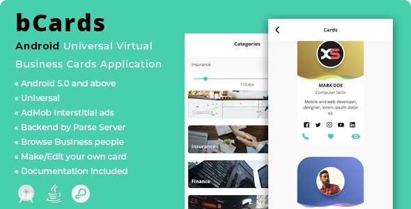 bCards   Android Virtual Business Cards Application - CodeCanyon Item for Sale