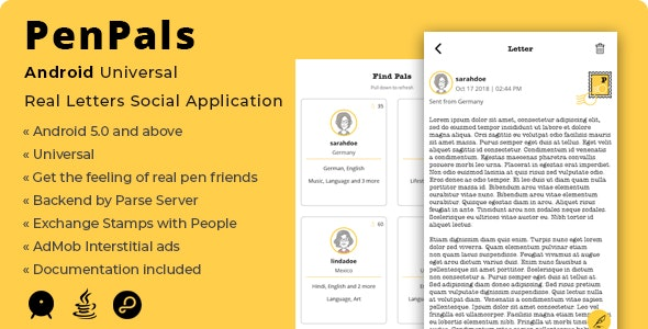 PenPals | Android Real Letters Social Application - CodeCanyon Item for Sale