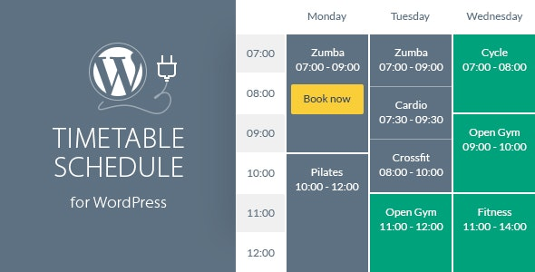 Timetable Responsive Schedule For WordPress - CodeCanyon Item for Sale