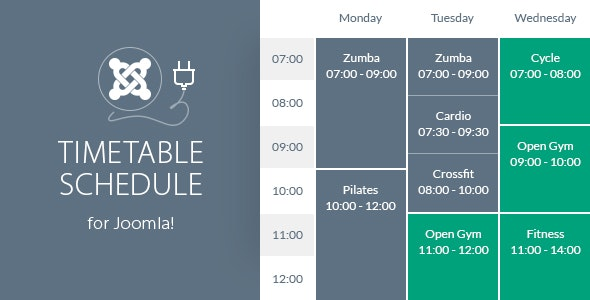 Timetable Responsive Schedule For Joomla by QuanticaLabs