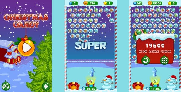 Christmas Candy - HTML5 Game + Android (Construct 3 | Construct 2 | Capx)