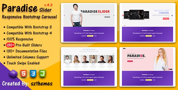 Paradise Slider - Responsive Bootstrap Carousel Plugin by szthemes