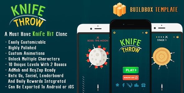 Knife Throw - A Buildbox Knife Hit Clone (BBDOC + Highly Polished Mechanics And Graphics) - CodeCanyon Item for Sale