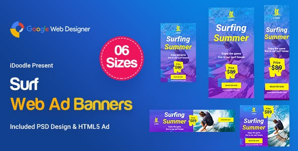 Surf Banners Ad HTML5 D38 - GWD & PSD