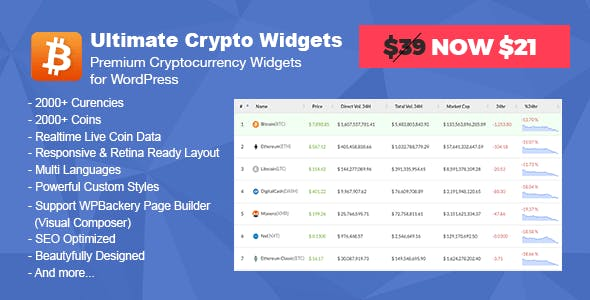 Ultimate Crypto Widgets - Premium Cryptocurrency Widgets for WordPress