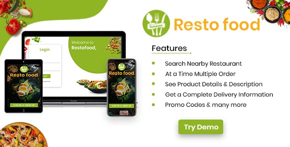 Restofood- Ordering App | An Online Food Ordering Platform / Just-eat / Eat24Hours  / Grubhub Clone