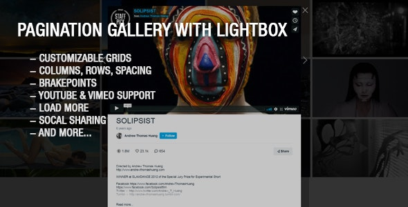 Youtube and Vimeo Gallery with Lightbox - CodeCanyon Item for Sale