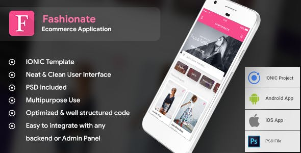 Fashion Ecommerce Android App + Fashion iOS App Template (HTML and CSS in IONIC 3) | Fashionate