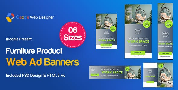 Furniture Product Banners HTML5 D44 Ad - GWD & PSD