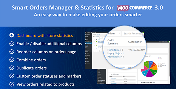 Smart Orders Manager & Statistics for Woocommerce 3.0 - CodeCanyon Item for Sale
