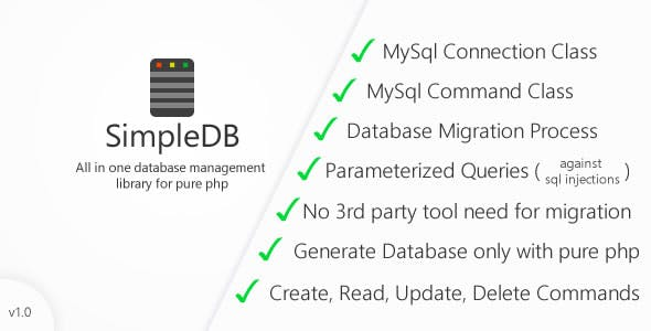 SimpleDB - All In One MySql Database Library (Connections, Commands, Migrations, Crud Library)
