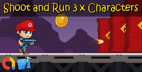 Shoot and Run 3 x Characters - iOS Xcode 10 + Admob