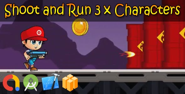 Shoot and Run 3 x Characters - Buildbox + iOS Xcode 10 + Android Studio + Admob + GDPR + API 27