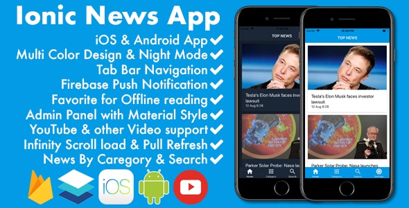 Ionic News/Blog/Magazine Full App with Admin Panel by Microcodes