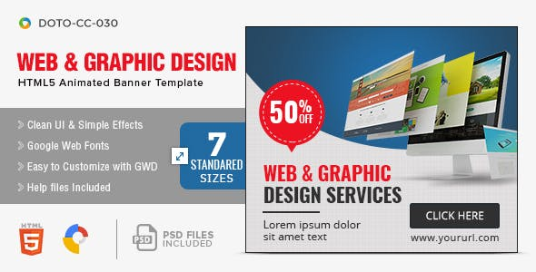 Web & Graphic HTML5 Banners - 7 Sizes